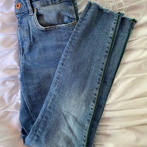 Zara Hugh waisted jeans with fun green stripe!